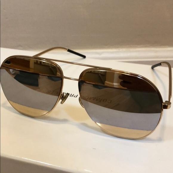 1046db6d7401 Christian Dior Split 1 Aviator Sunglasses Gold
